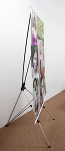 Side view of X-Banner Stand with ArtRoll print