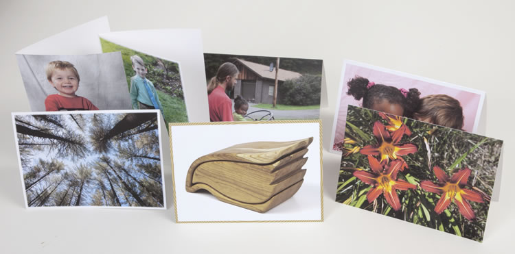 Greeting cards with a variety of borders and orientation