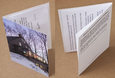 "We can put your text on the outside back of the card. The text ""Printed by Redipix.com"" is optional. The text inside the card is not provided but is not hard to do yourself with our instructions."