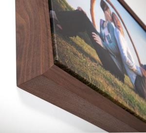Floating wrap walnut hardwood frame