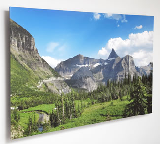 Floating Mount with print on canvas wrapped around the edges