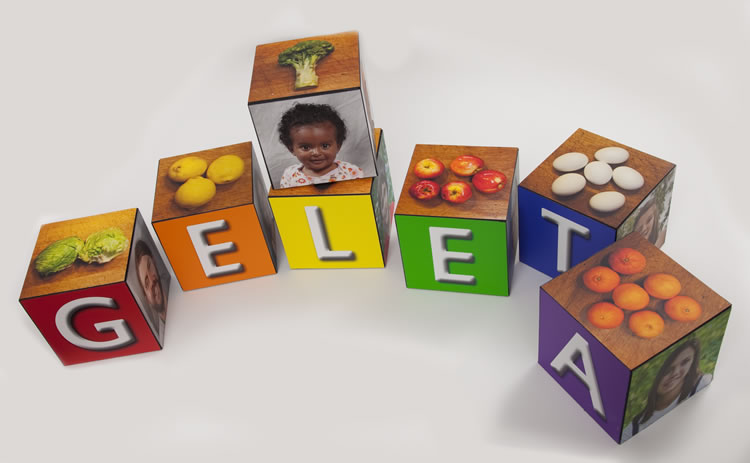 6-inch photo cubes for a toddler on Lyve Canvas. The heavy coating protects them from rough handling by children. Photos by David Elmore.