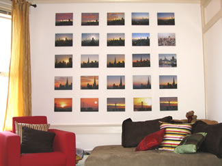 Collage picture wall of Flat Mount prints on Canvas